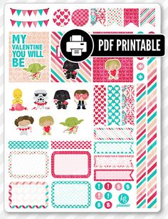 Valentine Heroes Decorating Kit PDF PRINTABLE Planner Stickers for Erin Condren Planner, Filofax, Plum Paper