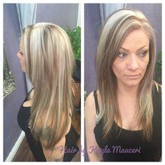Platinum blonde with chunky honey blonde lowlights