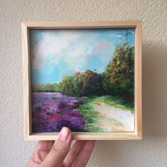 Purple heather, trees, small acrylic painting, landscape, gift, home decor door MetsArt op Etsy