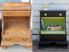 Before and After - upcycled painted furniture. Cute little night stand.