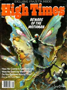 vintagegeekculture:  Frazetta mothman cover of the 1980 High Times.