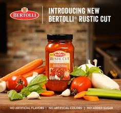 Introducing Bertolli® Rustic Cut sauces – our four new sauces made with thick-cut, hearty vegetables you can see and taste in every bite.