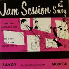 Jam Session at Savoy, label: Savoy MG 9030 (1953) Design: Burt Goldblatt.