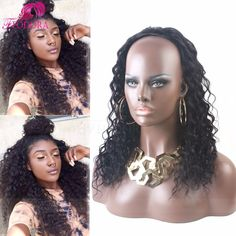 Online Shop No Lace Wig Human Hair Half Wigs Curly 3 4 Wig Cap 7A Virgin  Brazilian Human Hair Wig Extensions For Black Women Customized Sale 4ea7374b5a
