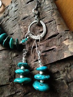 Genuine turquoise disc beads on fine silver and swirl design fishhook ear wires | Valerie Kagan Handmade