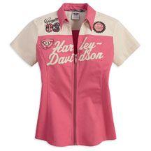 Women's Short Sleeve Woven Colorblocked Shirt       Harley-Davidson USA