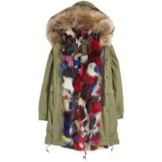 Army Parka Patch Fox Coat ($4,500) ❤ liked on Polyvore featuring outerwear, coats, coats & jackets, parka coat, army coat, army parka, brown coat and fox coat