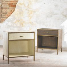 """This faux shagreen bedside has a bronzedand gilded frame, one drawer and storage area.  W26"""" x D17"""" x H28"""" / Bottom Shelf ~ H6""""  Finishes: Chocolate Faux Shagreen, Ivory Faux Shagreen"""
