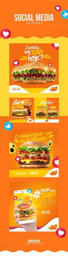 Social Media-Zap Lanches - Tap the link to shop on our official online store! You can also join our affiliate and/or rewards programs for FREE! Social Media Ad, Social Media Branding, Social Media Banner, Social Media Template, Social Media Design, Social Media Marketing, Web Design, Food Graphic Design, Food Poster Design