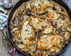 This creamy chicken mushroom recipe takes just 25 minutes to make. It's super easy, delicious, Keto-friendly and gluten-free. One of the best garlic mushroom chicken recipes ever Chicken And Shrimp Pasta, Cheesy Chicken, Keto Chicken, Chicken Mushroom Recipes, Chicken Recipes, Portobello Chicken Recipe, Mushroom Sauce, Chicken Fritters Recipe, Cookies Banane