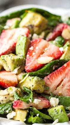 Strawberry Avocado Spinach Salad with Creamy Poppyseed Dressing