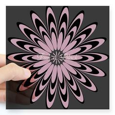 Custom Retro Pink Black Flower Sticker, editable text, for personalized gifts, decor.