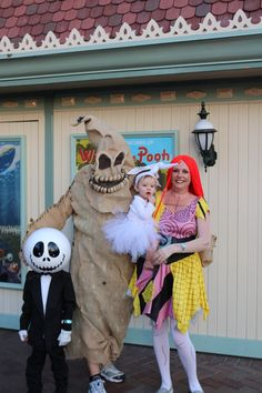 Lovely Family DIY Nightmare Before Christmas 2014 Halloween Costumes - Oogie Boogie, Jack skellington, Sally and Zero