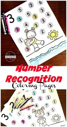 FREE Summer Number Recognition Coloring Pages - make practicing math fun with these free printable math worksheets perfect for practicing counting with toddler, preschool, and kindergarten age kids.