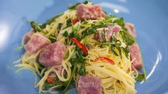 Fresh tuna and angel hair pasta with a lemon, caper, garlic and chilli oil