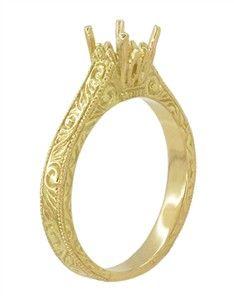 Art Deco 3/4 Carat Crown Scrolls Filigree Engagement Ring Setting in 18 Karat Yellow Gold $885
