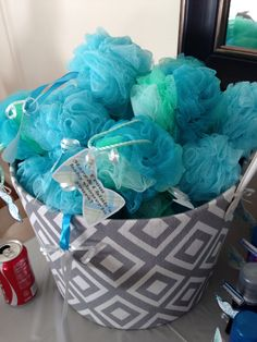 "Baby boy baby shower favor bath spongy....cut out bow tie & mustache labels saying ""from our baby shower to yours"""