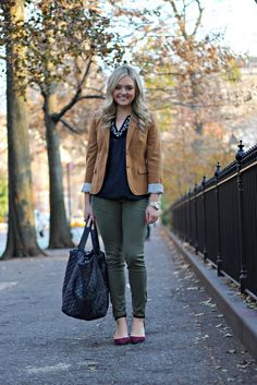 Crew Schoolboy Blazer, Vineyard Vines Silk Top, Army Green Pants, Berry-Hued Pointed Pumps, Plaid Work Tote (Love the color combo) Green Pants Outfit, Army Green Pants, Plaid Fashion, Winter Fashion, Fall Outfits, Cute Outfits, Blazers, Preppy Girl, Winter Stil