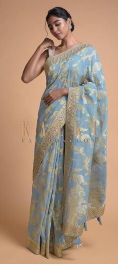 Maya blue banarasi saree in georgette with weaved floral jaal. Embroidered with gotta patches and zari in leaf pattern on the border. Indian Fashion Dresses, Indian Outfits, Saree Wedding, Wedding Dresses, Georgette Sarees, Silk Sarees, Indian Designer Wear, Cotton Silk, Blue Fabric