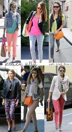Jessica Alba in colourful pants