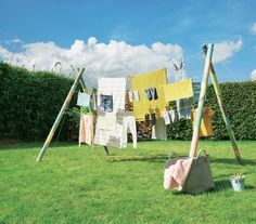 Étendoir + tente dans le jardin : génial !