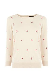 Embroidered flamingo jumper