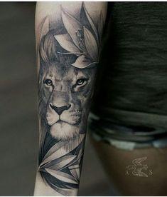 Blackwork Lion with plants tattoo design on the forearm # .- Blackwork Lion mit Pflanzen Tattoo-Design auf dem Unterarm Blackwork Lion with plant tattoo design on the forearm - Simple Tattoo Designs, Tattoo Sleeve Designs, Flower Tattoo Designs, Tattoo Designs Men, Sleeve Tattoos, Lion Tattoo With Flowers, Cute Small Tattoos, Cute Tattoos, Tattoos For Guys