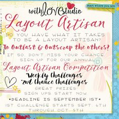 Annual Layout Artisan Competition Sign-ups are here!!