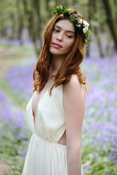 English bluebell wood wedding inspiration by Fern and Field with a blush coloured wedding dress, tipis, flower crowns and a naked wedding cake. Woods Wedding Inspiration, English Bluebells, Ivy Flower, 2018 Wedding Trends, Wedding Venues Uk, Hunter Gatherer, Wedding Company, Wedding Flowers, Wedding Dresses