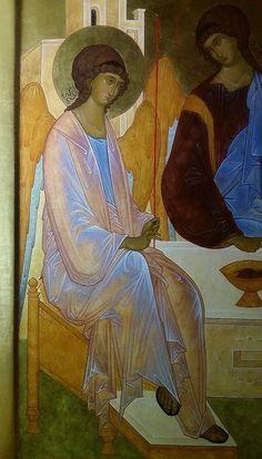 The Holy Trinity. Byzantine Icons, Byzantine Art, Religious Icons, Religious Art, Paint Icon, Creativity Exercises, Russian Icons, Biblical Art, Catholic Art
