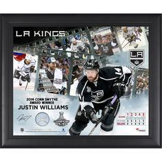 "Justin Williams Los Angeles Kings Fanatics Authentic Framed 16"" x 20"" 2014 Stanley Cup Champions Conn Smythe Winner Framed Filmstrip Composite with Piece of Stanley Cup Used Net-Limited Edition of 250"