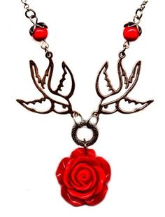 Silver and Red Rose with Sparrows 18 Inch Necklace Vintage Victorian Style Artist Jewelry Rock-a-billy Moon Pixie, http://www.amazon.com/dp/B00BKFV1H0/ref=cm_sw_r_pi_dp_0aSlrb109F2MA