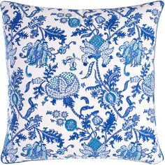 Roberta Roller Rabbit Amanda Pillow (93 CAD) ❤ liked on Polyvore featuring home, home decor, throw pillows, blue, blue toss pillows, floral throw pillows, cotton throw pillows, blue accent pillows and blue throw pillows