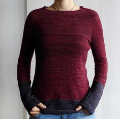 color combo eggplant and crimson Antler by ANKESTRICK. malabrigo Sock in Tiziano Red and Eggplant colorways. Diy Pullover, Malabrigo Sock, Plain Shirts, Sweater Knitting Patterns, Crochet Patterns, Vintage Knitting, Long Sleeve Sweater, Types Of Sleeves, Knit Crochet