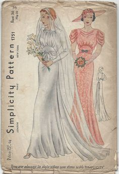 1939 Vintage Sewing Pattern B36 WEDDING & BRIDEMAID DRESS (R851) #Simplicity 30s color illustration print ad white pink satin lace evening formal gown