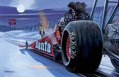 How does Santa get all the presents to good little boys and girls around the world on Christmas Morning?  That noise you hear on the roof may not be reindeer.   Santa heard that Amazon Prime delivers fast, so he built a top fuel delivery dragster that does 0 to your house in 3.8 seconds.  Beat that, Amazon!