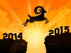 Year 2015, the year of goat – Year 2015 animal sign... Year 2015 is coming! The year of goat… year 2015 animal sign of Chinese zodiac is goat. This illustration shows a mountain goat jumping from 2014 to 2015 over a cliff on sunrise or sunset time. Suitable for new year 2015 greeting card to say happy new year. Happy new year 2015 to you…