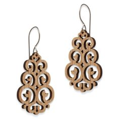 "These Victorian style laser cut earrings are light weight and right on trend. They're inspired by wind vanes and will definitely make you feel breezy and confident. - Renewable bamboo - 1"" x 1 1/2"" - French wire, sterling silve"