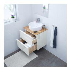 GODMORGON/TOLKEN / TÖRNVIKEN Skab vask bordpla, 45 vask - bambus, højglans hvid - IKEA
