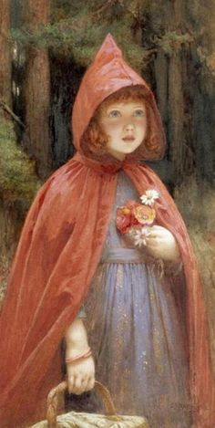 """Little Red Riding Hood by Edward Frederick Brewtnall; This illustration came from: """"Little Red Riding Hood"""" (Date Unknown) Edward Frederick Brewtnall Alphonse Mucha, Charles Perrault, John Everett Millais, Big Bad Wolf, Fairytale Art, Red Hood, Children's Book Illustration, Food Illustrations, Red Riding Hood"""