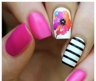 Floral and pink summer nails