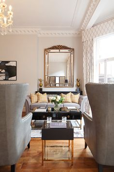 3 from a classic contemporary interior in London. We were commissioned by Savills Mayfair to re-invent a tired two-storey apartment on Mayfair's iconic Green Street, and restore it to become an attractive luxury residential investment. 2 Storey House, Green Street, Contemporary Interior, Interior Design Inspiration, Dining Bench, Oversized Mirror, Cushions, Mansions, Luxury