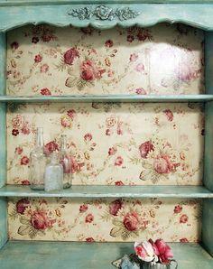 Vintage Painted Cottage Shabby Aqua Romantic