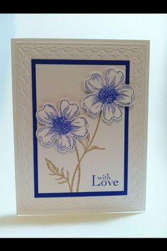 Card kit set of 4 Stampin' Up Flower Shop tulip embossed by GMade, $8.00