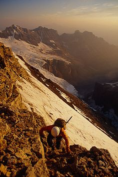 Donna Raupp #climbing Mount Victoria near Lake Louise, British Columbia, Canada Image by Whit Richardson