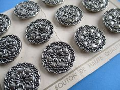 VINTAGE FRENCH BUTTONS SILVER METAL 12 pcs. UNUSED ON SALES CARD noelhumphrey on eBay.co.uk