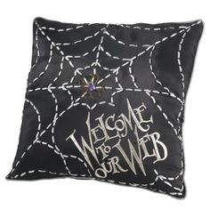 "Amazon.com: Grasslands Road Ghoulish Glamour ""Welcome to Our Web"" Black Spider Pillow: Home & Kitchen"