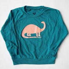 Brontosaurus Kids Long Sleeve Raglan in Green by eleventyfive, $26.00