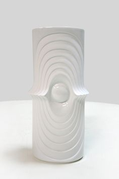 Vintage West German Bavarian Op Art Bisque Swing Eye Vase by KPM Royal - Porcelain Modernist Mid Century Modern Minimalist Relief Abstract by WestEstShop on Etsy