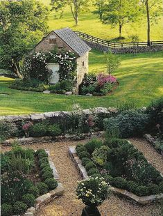 Garden, stone walling with garden shed and paddocks beyond. My idea of heaven!